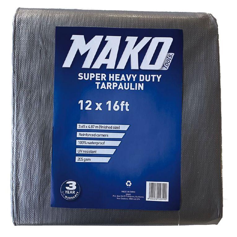 Mako Tarpaulin Silver/Black 205gsm 12ft x 16ft, , hi-res