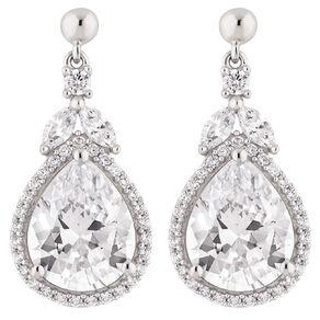 Brilliance Sterling Silver CZ Pear Drop Earrings