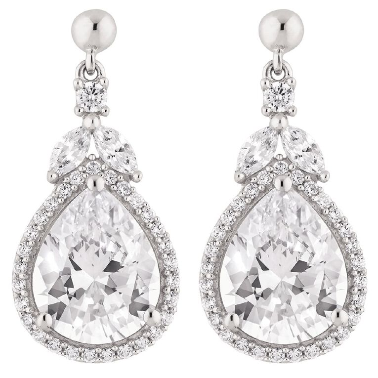 Brilliance Sterling Silver CZ Pear Drop Earrings, , hi-res