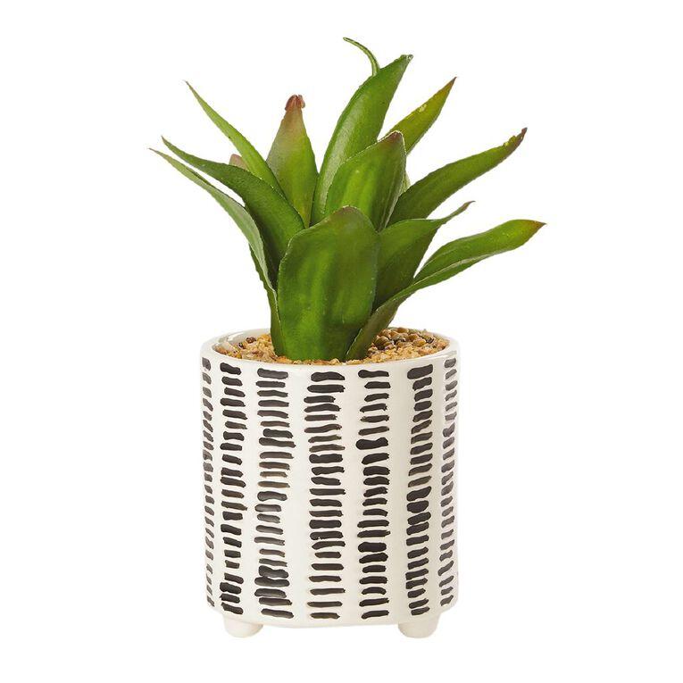 Living & Co Artificial Succulent Stripe Column Pot White/Black, , hi-res