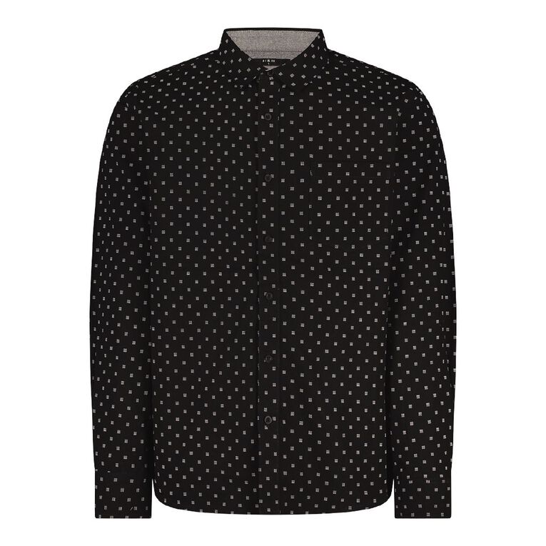 H&H Men's Long Sleeve All Over Print Shirt, Black, hi-res