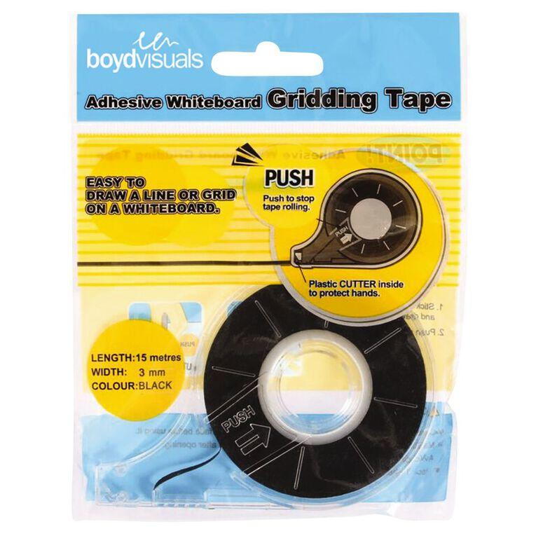 Boyd Visuals Whiteboard Grid Tape 3mm x 15m Black, , hi-res