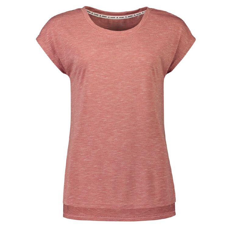 Active Intent Women's Extended Shoulder Step Hem Tee, Pink Mid, hi-res