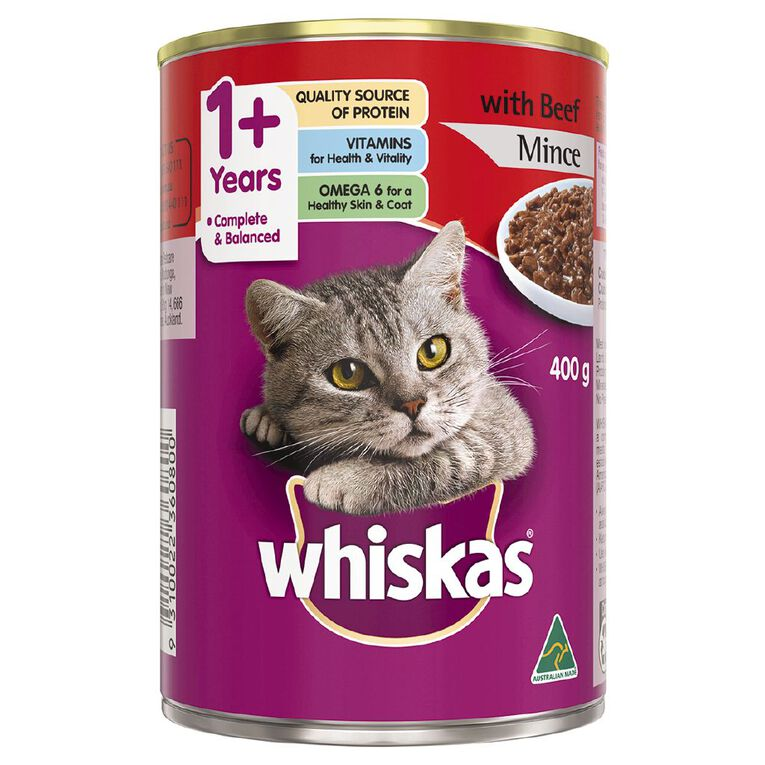 Whiskas Whiskas Adult Cat Oh So Meaty with Beef Premium Mince 400g, , hi-res