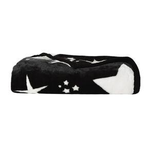 Living & Co Kids Blanket Mink Feel 400gsm Star Black Single