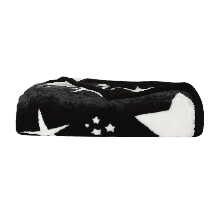 Living & Co Kids Blanket Mink Feel 400gsm Star Black Single, , hi-res image number null