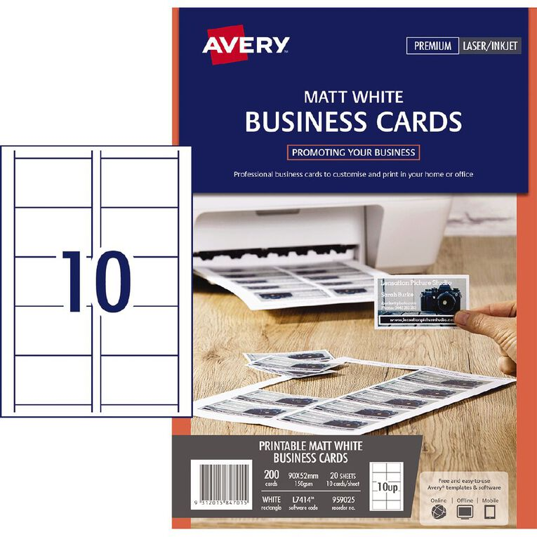 Avery Avery Business Cards Pyo L7414-20 Matt 150Gsm 200 Pack White, , hi-res