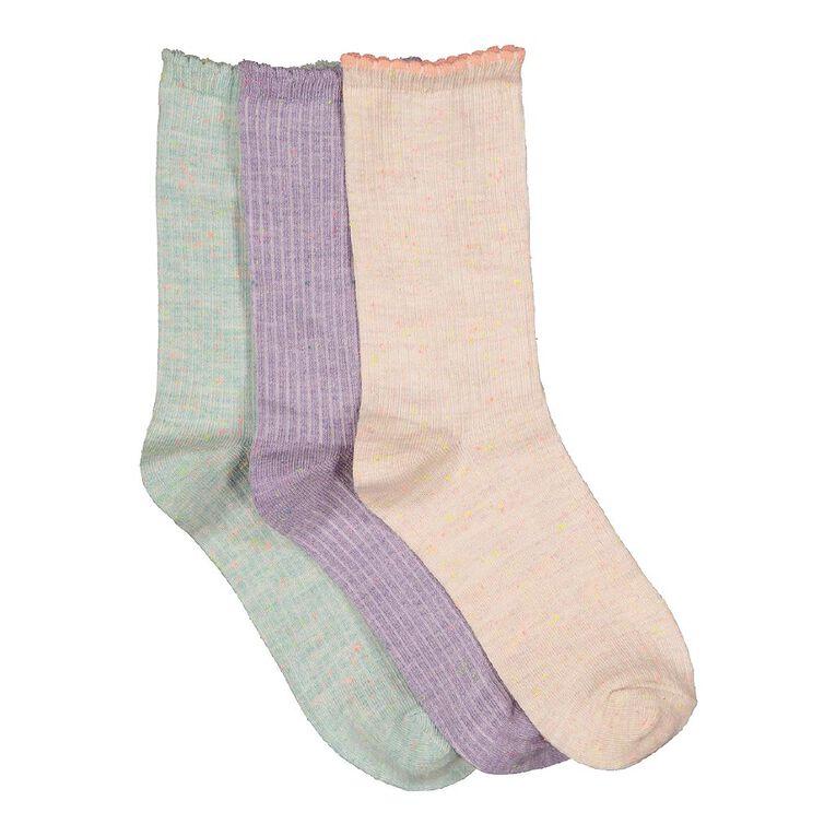 H&H Girls' Crew Textured Socks 3 Pack, Multi-Coloured, hi-res