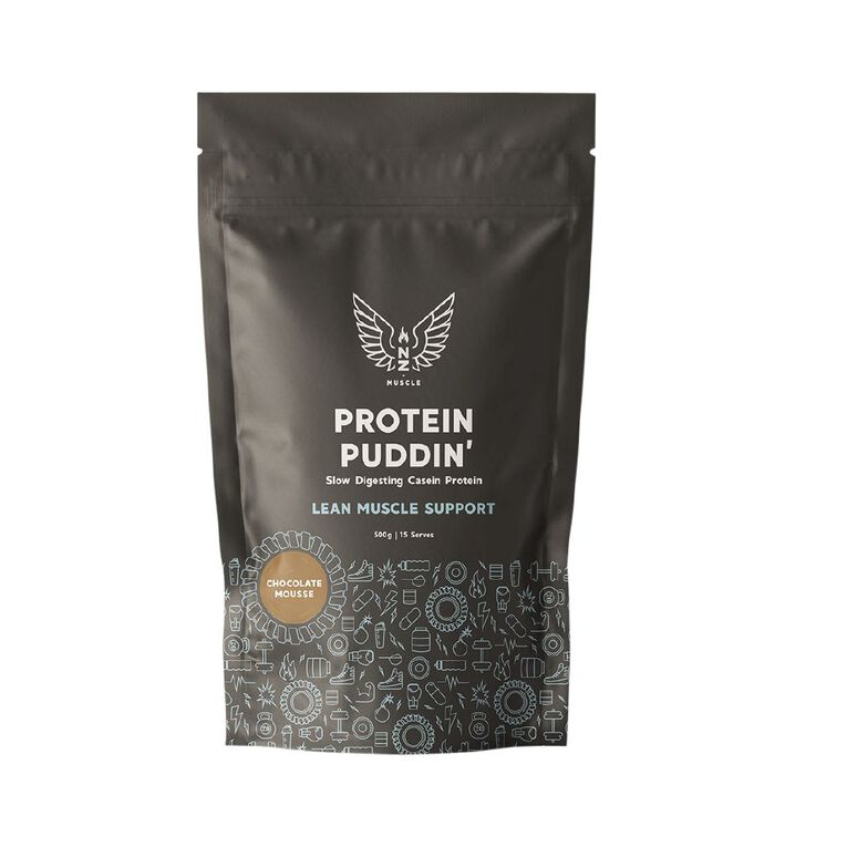 NZ Muscle Protein Puddin Chocolate Mousse 500g, , hi-res