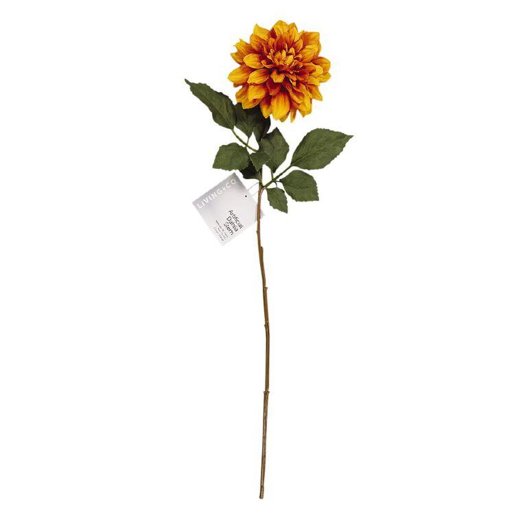 Living & Co Artificial Dahlia Stem Orange 75cm, , hi-res