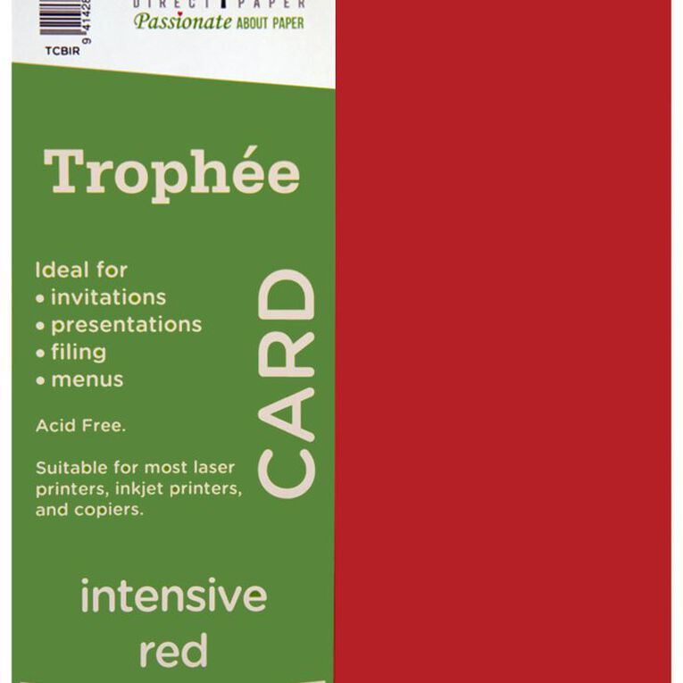 Trophee Card 160gsm 100 Pack Intensive Red A4, , hi-res