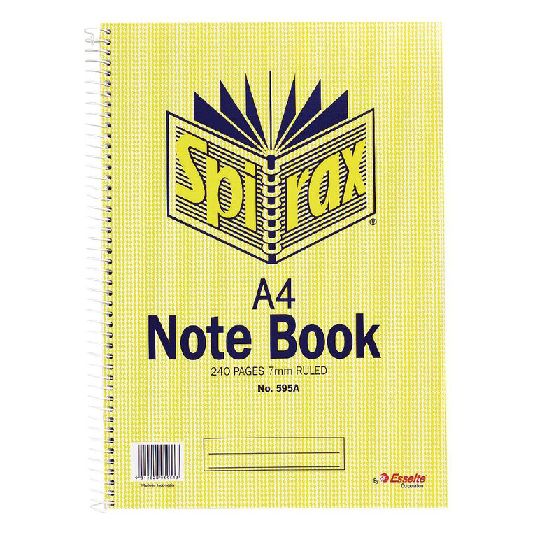Spirax Notebook Spiral No.595A 240 Page 7mm Ruled Yellow A4, , hi-res
