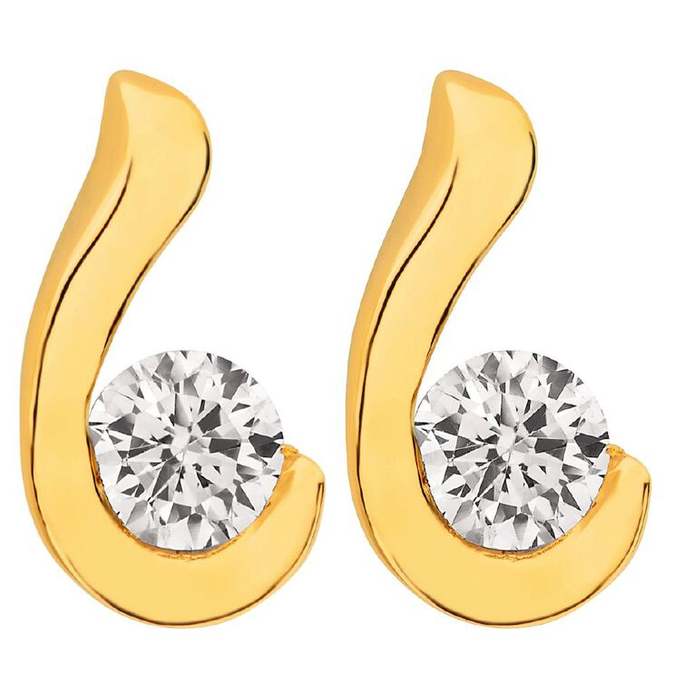 9ct Gold CZ Wave Stud Earrings, , hi-res