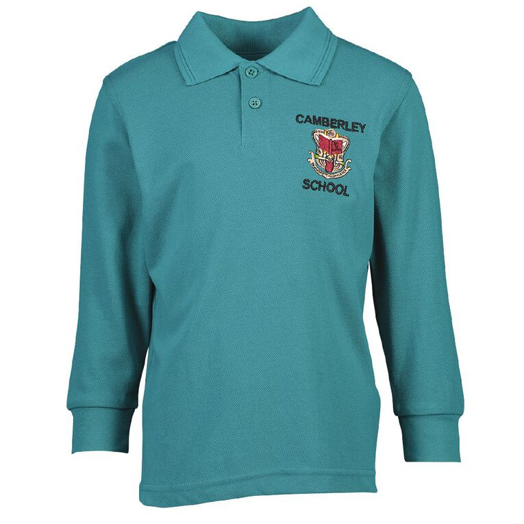 Schooltex Camberley Long Sleeve Polo with Embroidery, Jade, hi-res