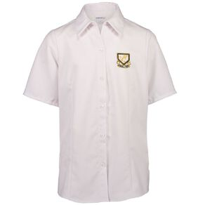Schooltex Whangarei Girls' High Short Sleeve Blouse with Embroidery