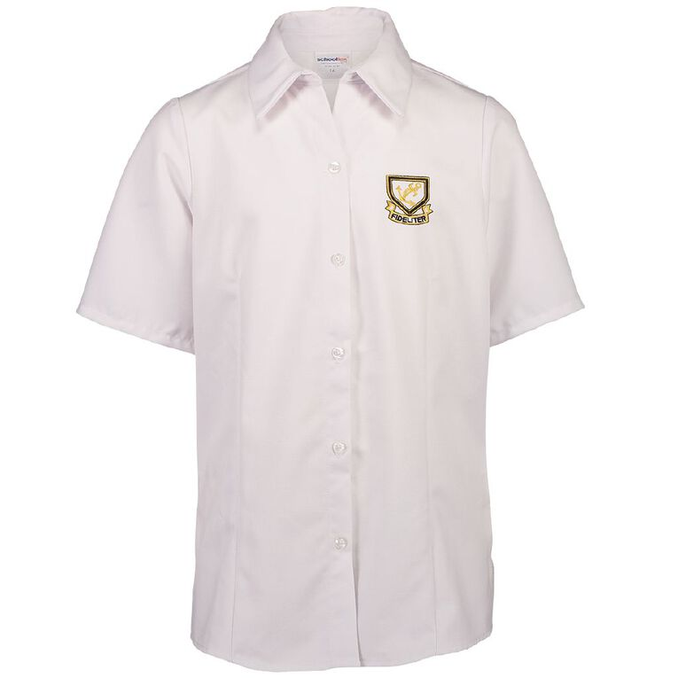 Schooltex Whangarei Girls' High Short Sleeve Blouse with Embroidery, White, hi-res