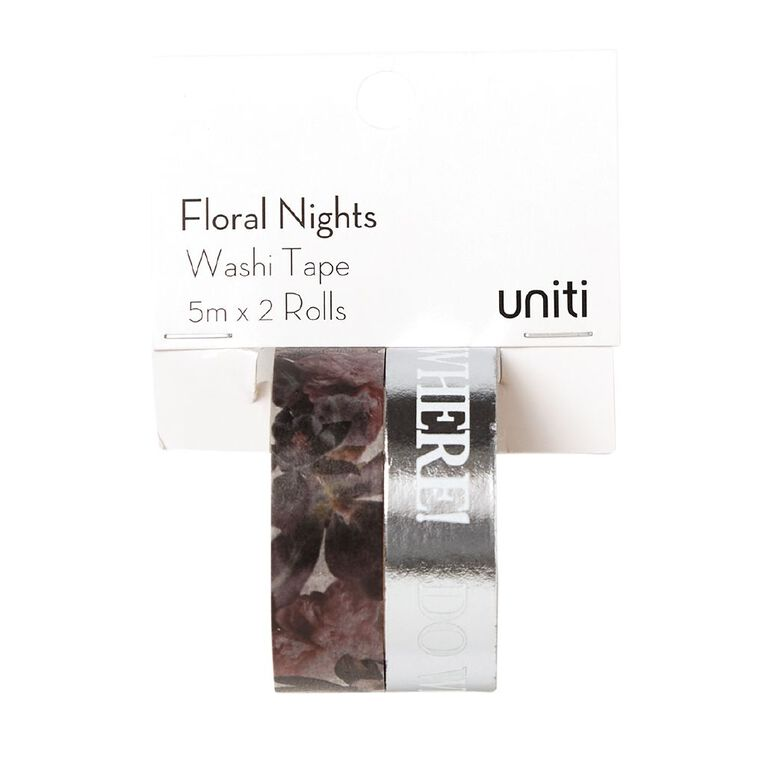 Uniti Floral Nights Washi Tape 2 Pack Be Kind, , hi-res