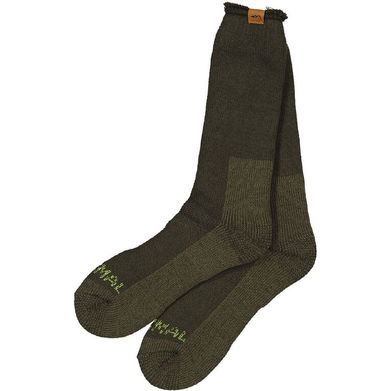 Back Country Men's Brushed Thermal Socks 1 Pack, Green, hi-res