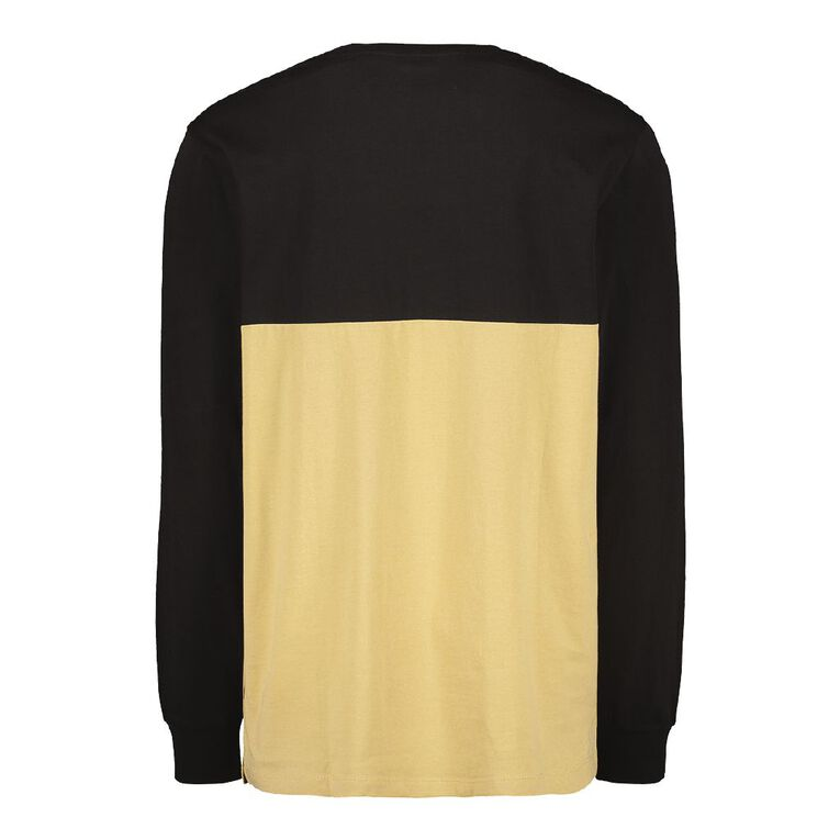 Garage Men's Long Sleeve Spliced Panel Tee, Black, hi-res
