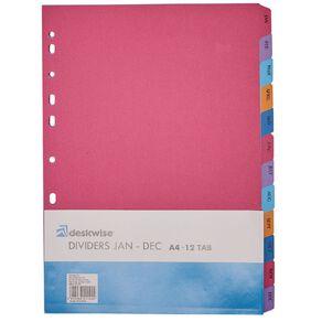 Deskwise Dividers Jan - Dec A4 12 Tab
