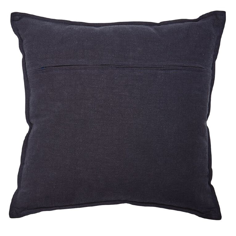 Living & Co Linen Rich Cushion Eclipse Navy 50cm x 50cm, Navy, hi-res