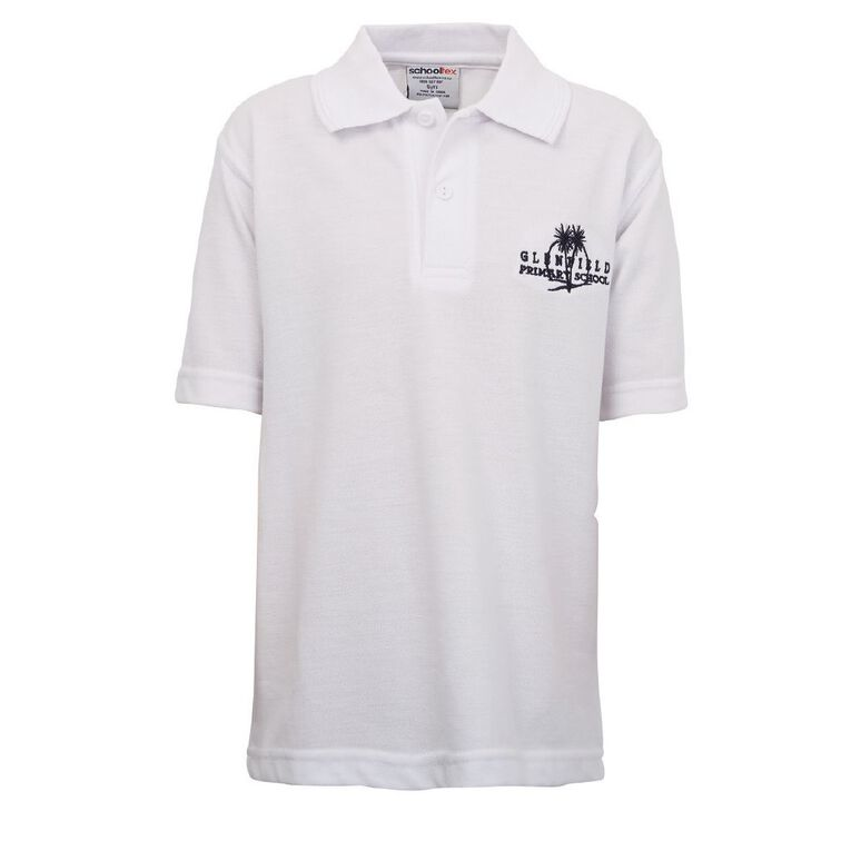 Schooltex Glenfield Short Sleeve Polo with Embroidery, White, hi-res