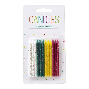 Glitter Candles 73mm Multi-Coloured 12 Pack