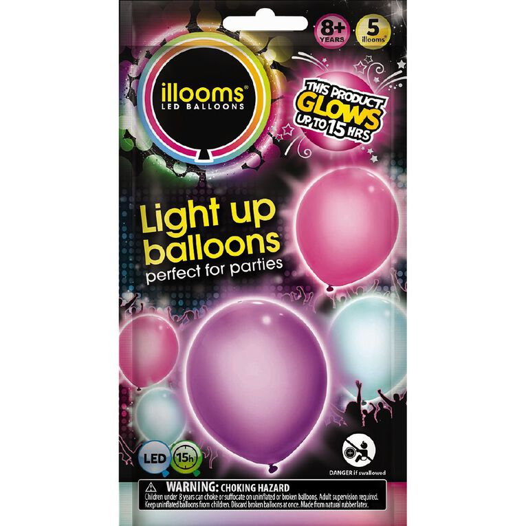 Illooms Light Up Balloons Girlie 5 Pack, , hi-res