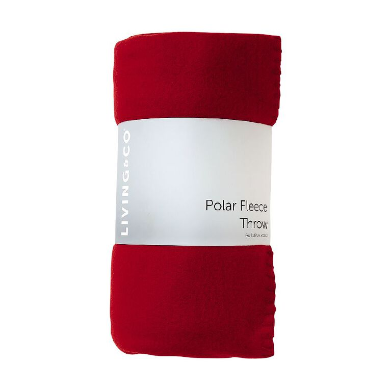 Living & Co Plain Polar Fleece Throw Red 127cm x 152cm, Red, hi-res image number null