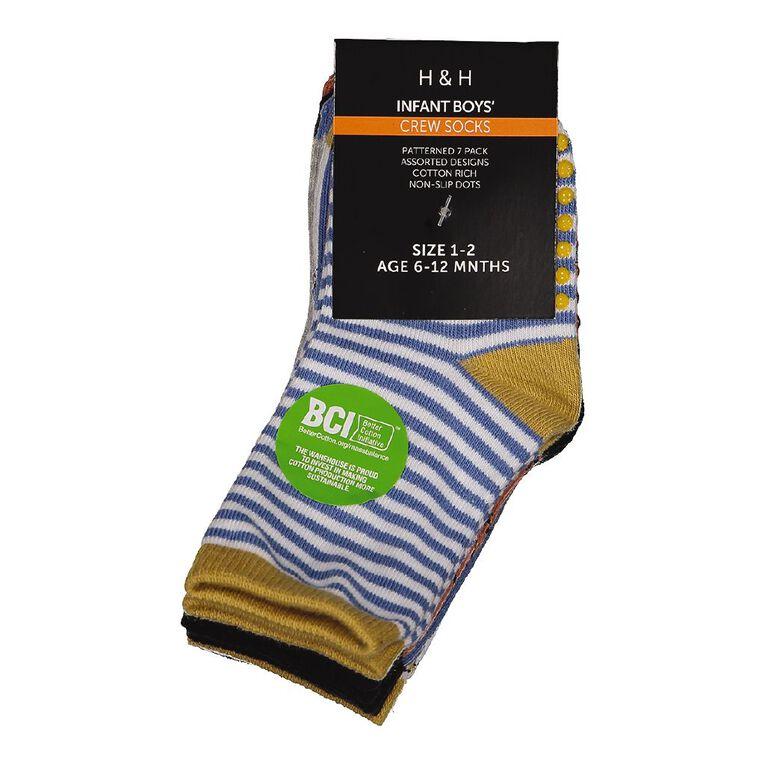 H&H Infant Boys' Jacquard Crew Socks 7 Pack, Blue Dark, hi-res