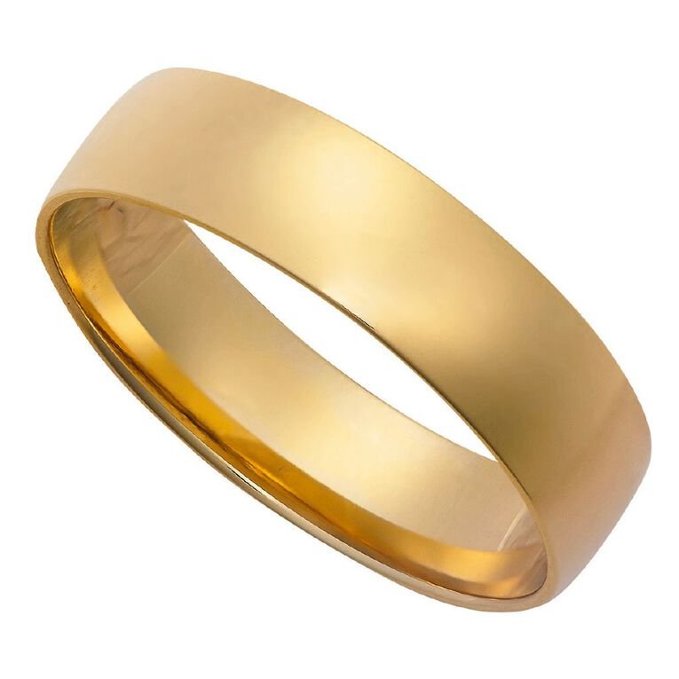 9ct Gold Half Round Ezi Fit Wedding Ring, Yellow Gold, hi-res image number null