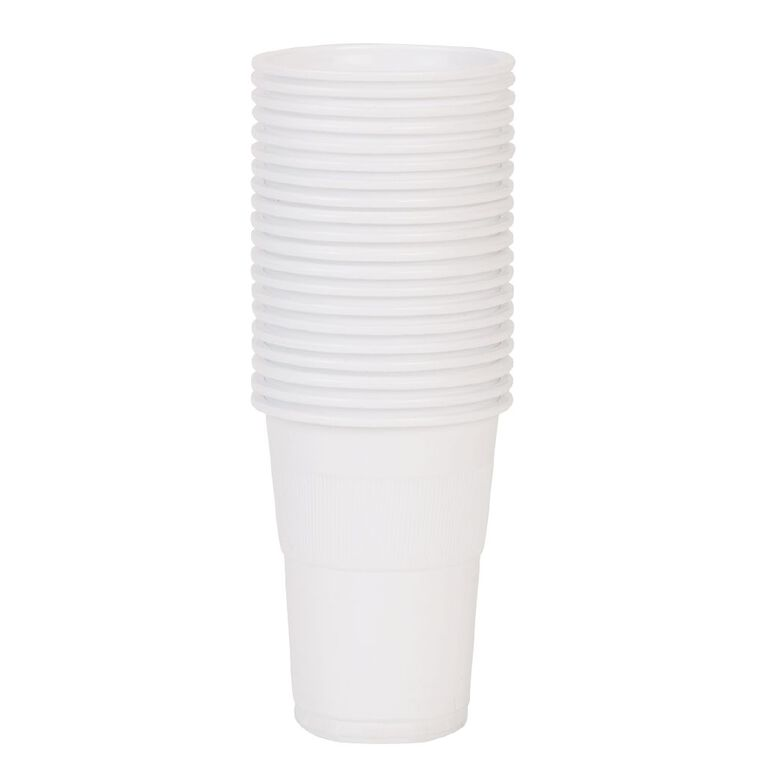 Party Inc Plastic Cups 220ml White 20 Pack, , hi-res