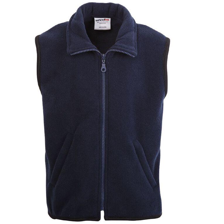 Schooltex Adults' Sleeveless Polar Fleece Vest, Navy, hi-res