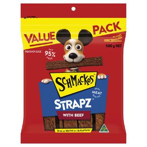Schmackos Strapz Dog Treats Beef 500g