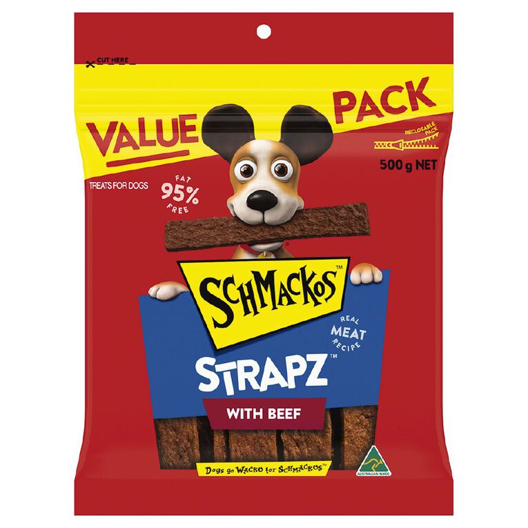 Schmackos Strapz Dog Treats Beef 500g, , hi-res