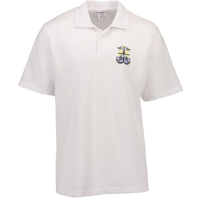 Schooltex St Joseph (Wairoa) School Short Sleeve Polo with Embroidery, White, hi-res