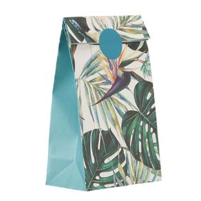 Party Inc Teal Tropical Paper Loot Bags with Seals 12cm x 22cm 8 Pack