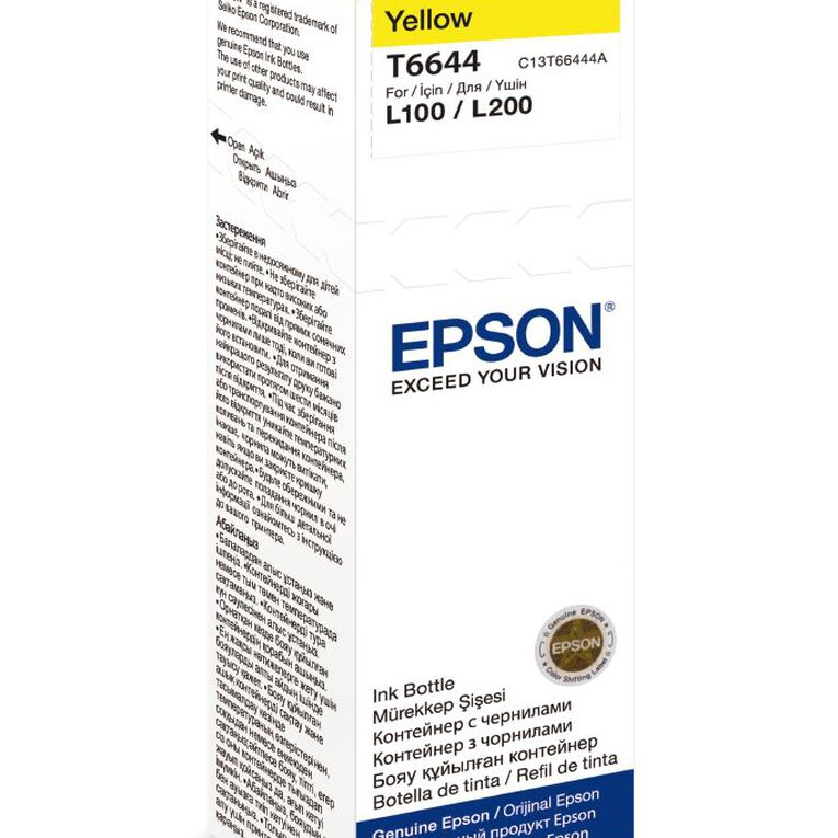 Epson Ink T6644 Yellow 70ml Bottle (7500 Pages), , hi-res