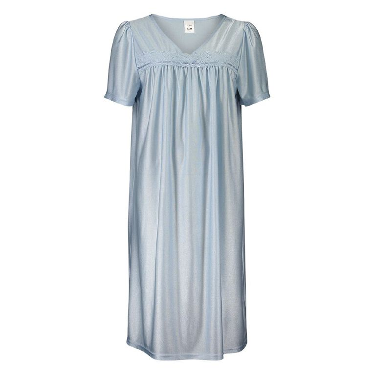 H&H Women's Tiricot Nightie, Blue Light, hi-res image number null