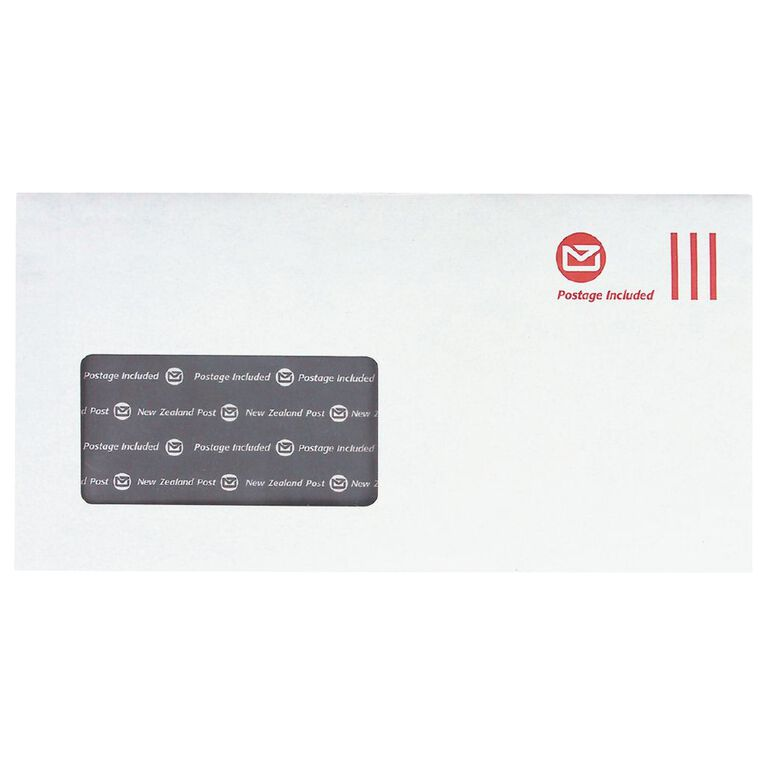 New Zealand Post DLE Envelope Prepaid Window 100 Pack, , hi-res