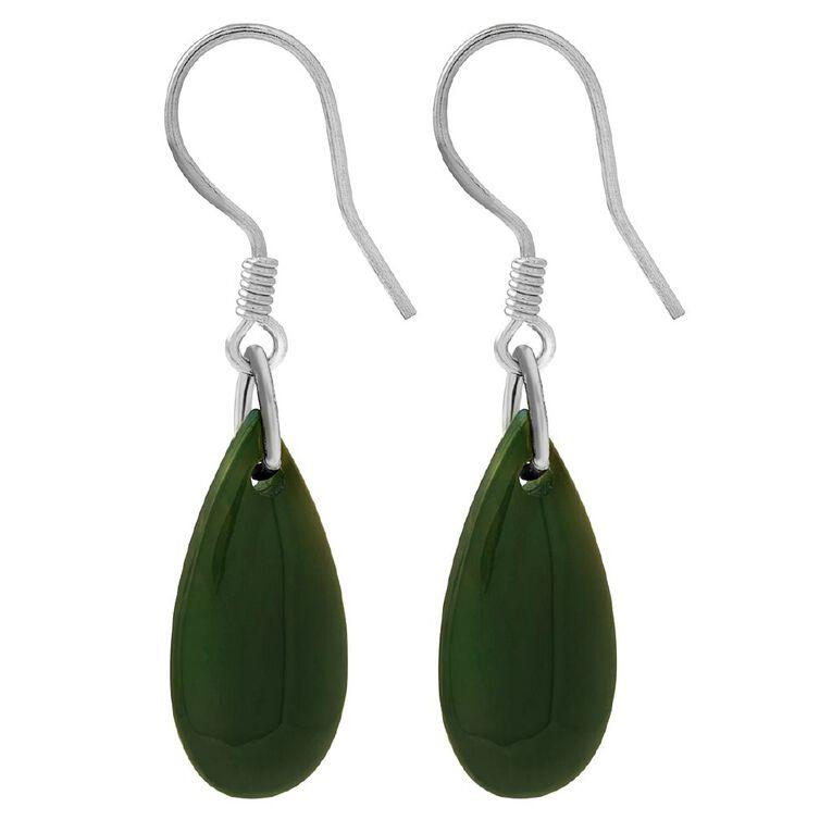 Sterling Silver Jade Tear Drop Earrings 18mm, , hi-res