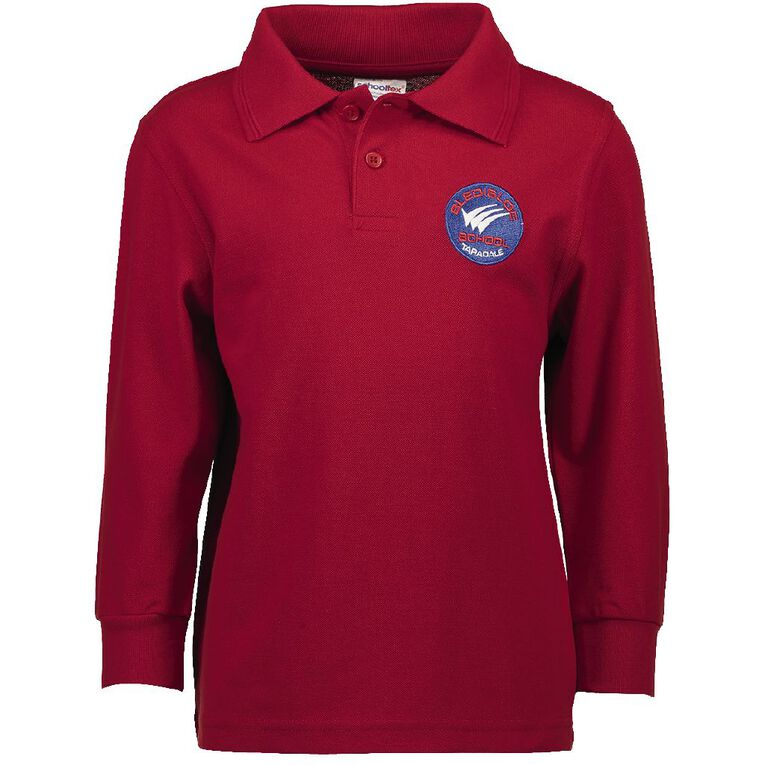 Schooltex Bledisloe Long Sleeve Polo with Embroidery, Red, hi-res