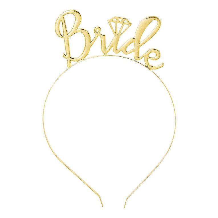 Party Inc Bride Headband Gold, , hi-res