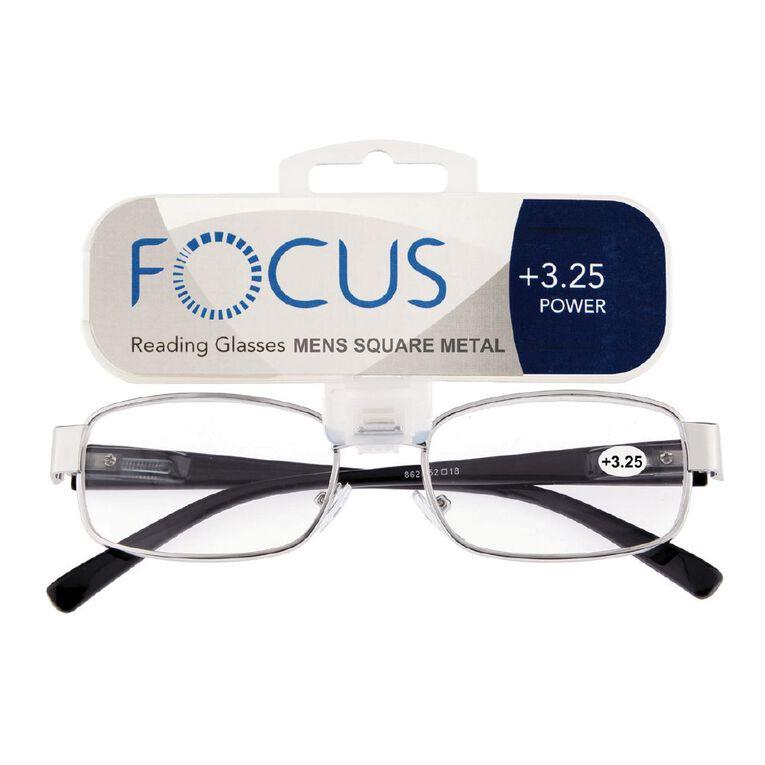 Focus Reading Glasses Men's Square Metal Power 3.25, , hi-res