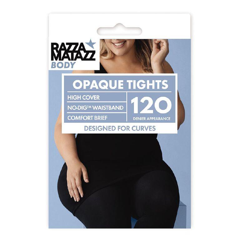 RazzaBody Curvaceous Matte High Cover 120D Opaque Tights, Black, hi-res