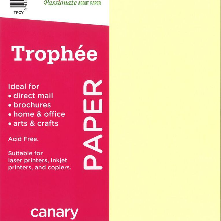 Trophee Paper 80gsm 30 Pack Canary Yellow A4, , hi-res