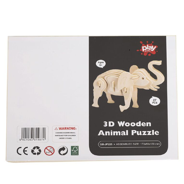 Play Studio 3D Wooden Puzzle Animal Assorted, , hi-res