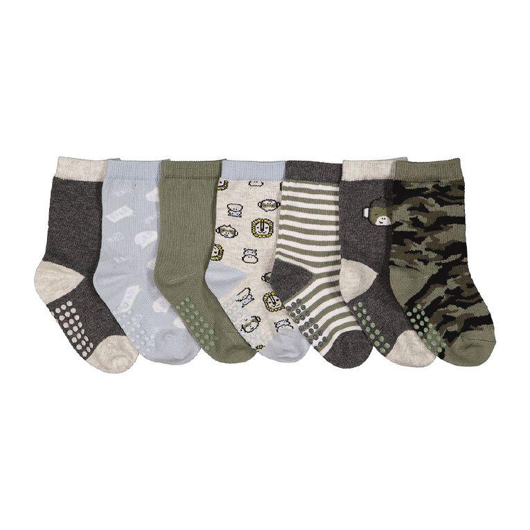 H&H Infant Boys' Jacquard Crew Socks 7 Pack, Khaki, hi-res
