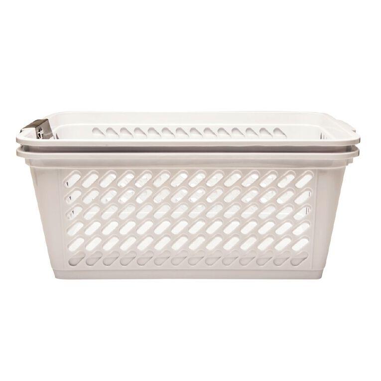 Living & Co Storage Basket Large White 2 Pack, , hi-res