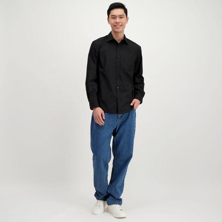 H&H Men's Long Sleeve Formal Shirt, Black, hi-res